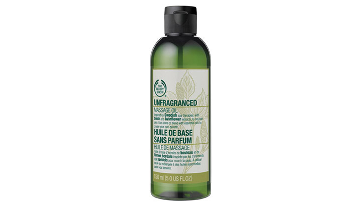 Body Shop's unfragranced massage oil